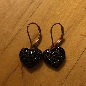 NWOT BLACK SPINEL HEART EARRINGS